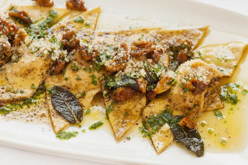 Mozzarella & Butternut Squash Ravioli with Sage Brown Butter Sauce