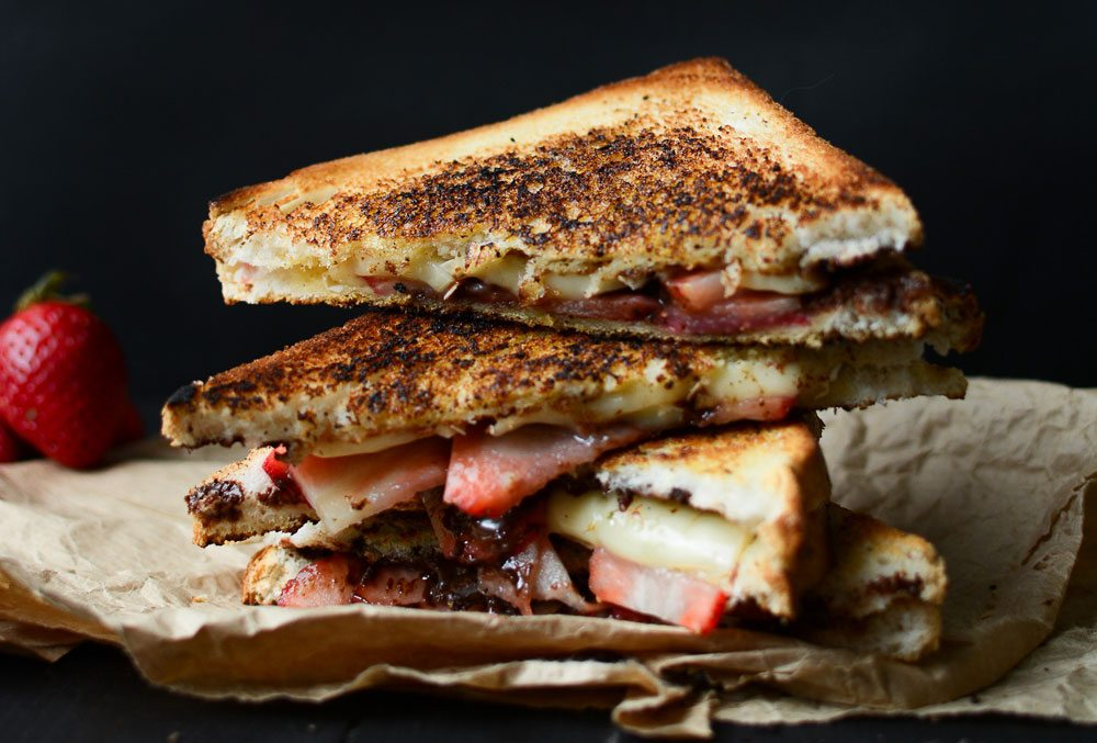 Panini with Dark Chocolate, Strawberries & Cheese